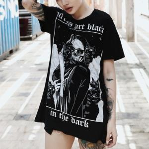 Women T-Shirt Gothic Cats Print Punk Grunge Short Sleeve Loose Top Tees New Fashion Dark Harajuku Halloween Party T Shirt Female