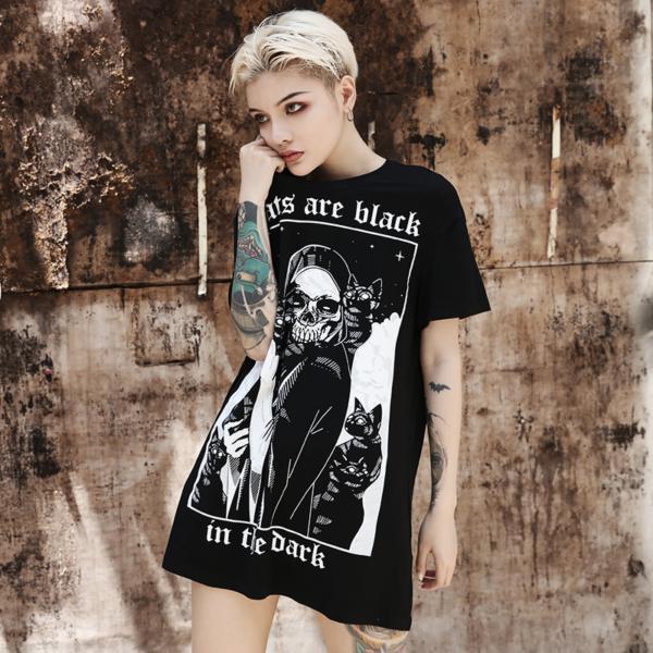 Women T-Shirt Gothic Cats Print Punk Grunge Short Sleeve Loose Top Tees New Fashion Dark Harajuku Halloween Party T Shirt Female 3