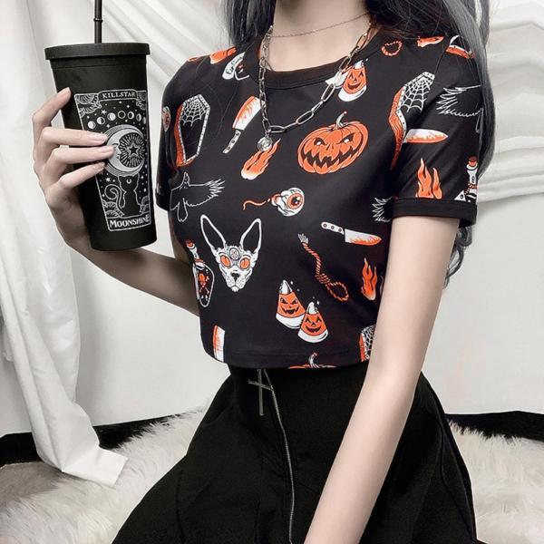 Rosetic Halloween Pumpkin Print Gothic T Shirt Women Tops Summer Tee Shirts Streetwear Preppy Crop Chic Tshirt Black Goth Tees 2