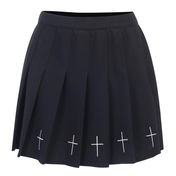 InsGoth High Waist Mini Black Skirts Gothic Streetwear Cross Print Pleated Women Skirts Casual College Lolita Harajuku Skirt 3