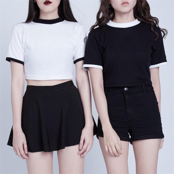 Sexy Women T-Shirts Summer Hollow Out Tshirt Backless Short Sleeve Cute Crop Top Kawaii Harajuku Best Friends Tops Tee 2