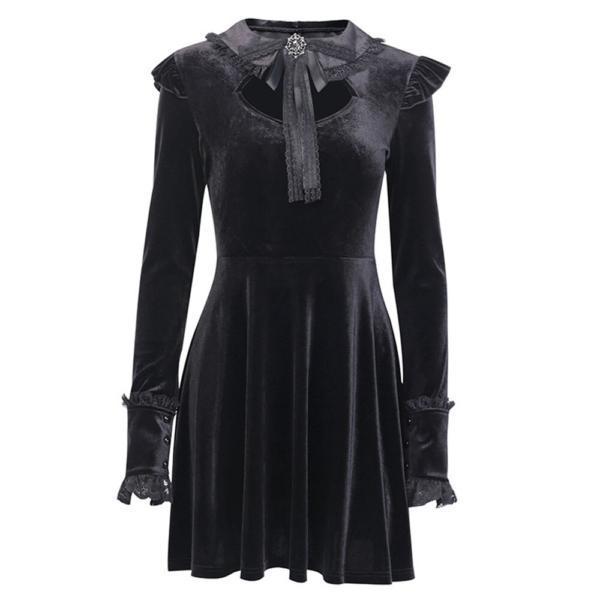 Rosetic Women Dresses Black Sexy Gothic Court Lace Waist Pleated Dress Punk Korean Women Long Sleeeve Gothic Bow Retro Dresses 1
