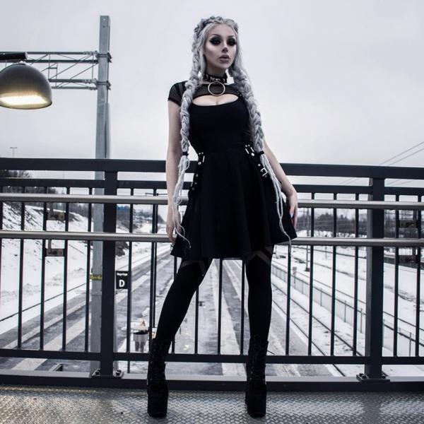 Gothic Sexy Dress Summer Dress Women Vintage Black Mesh Streetwear Hipster High Waist Solid Dresses Party Nightclub Mini Dress 1