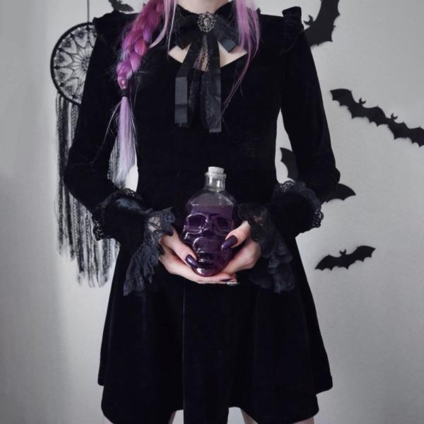 Rosetic Women Dresses Black Sexy Gothic Court Lace Waist Pleated Dress Punk Korean Women Long Sleeeve Gothic Bow Retro Dresses