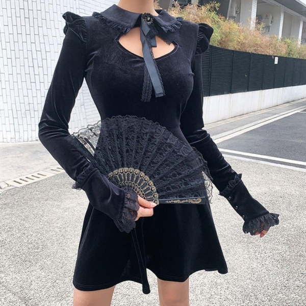 Rosetic Women Dresses Black Sexy Gothic Court Lace Waist Pleated Dress Punk Korean Women Long Sleeeve Gothic Bow Retro Dresses 2