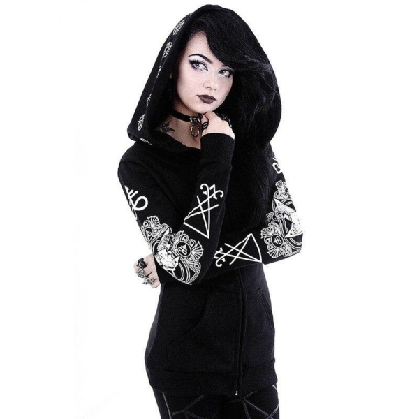 Goth Hoodie Oversized with pentagram 1