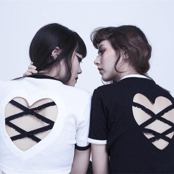 Sexy Women T-Shirts Summer Hollow Out Tshirt Backless Short Sleeve Cute Crop Top Kawaii Harajuku Best Friends Tops Tee 1