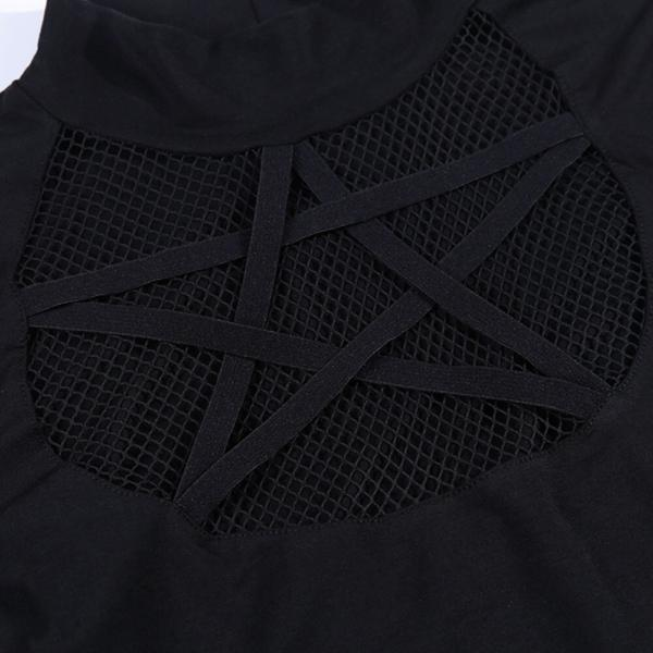 Rosetic Gothic Hollow Sexy T-Shirt Women Pentagram Design Streetwear Casual Tshirt Long Sleeve Cool Goth Girl Spring Tops 2020 5