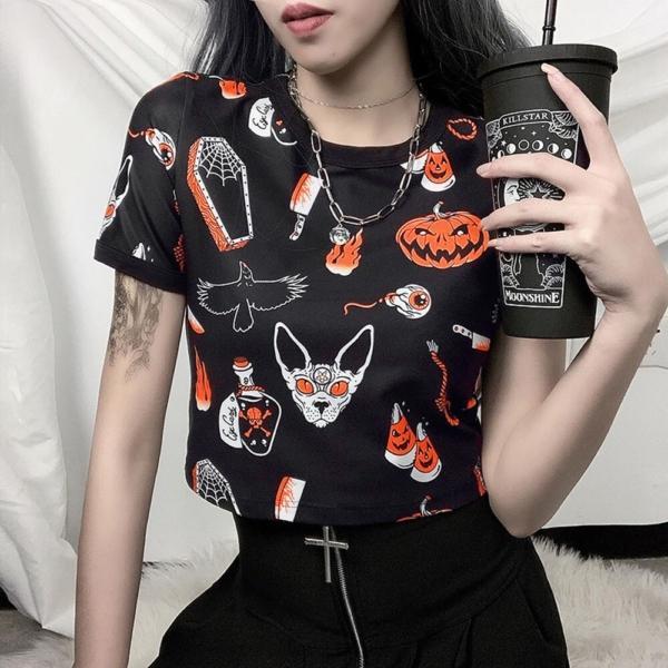 Rosetic Halloween Pumpkin Print Gothic T Shirt Women Tops Summer Tee Shirts Streetwear Preppy Crop Chic Tshirt Black Goth Tees