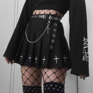 InsGoth High Waist Mini Black Skirts Gothic Streetwear Cross Print Pleated Women Skirts Casual College Lolita Harajuku Skirt 1