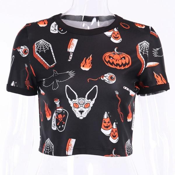 Rosetic Halloween Pumpkin Print Gothic T Shirt Women Tops Summer Tee Shirts Streetwear Preppy Crop Chic Tshirt Black Goth Tees 4