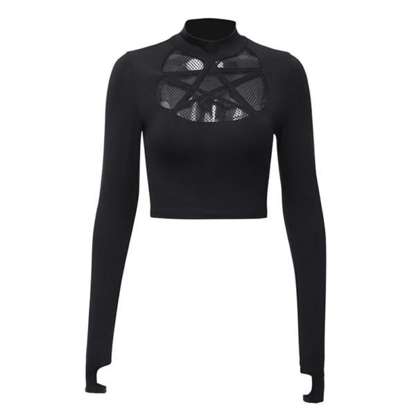 Rosetic Gothic Hollow Sexy T-Shirt Women Pentagram Design Streetwear Casual Tshirt Long Sleeve Cool Goth Girl Spring Tops 2020 3