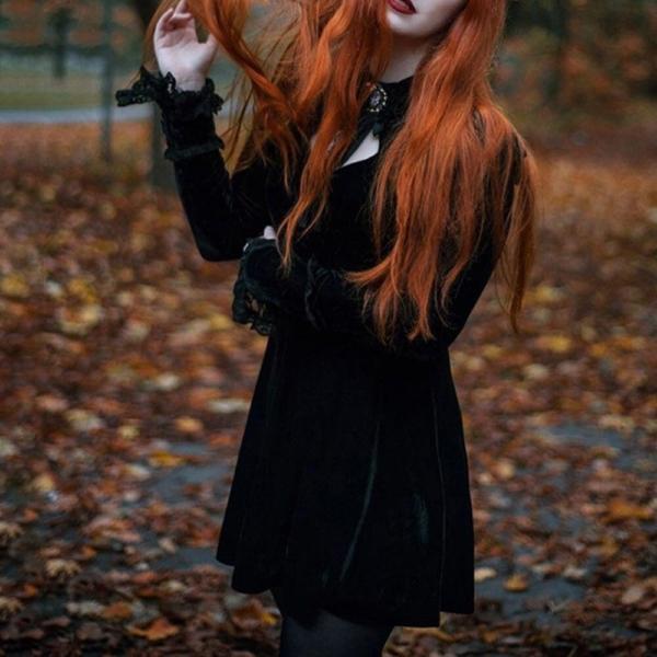 Rosetic Women Dresses Black Sexy Gothic Court Lace Waist Pleated Dress Punk Korean Women Long Sleeeve Gothic Bow Retro Dresses 3