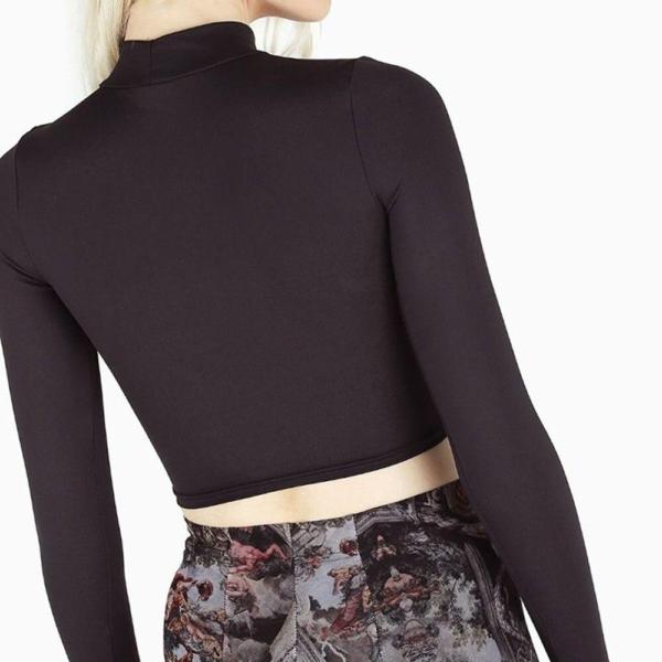 Rosetic Gothic Hollow Sexy T-Shirt Women Pentagram Design Streetwear Casual Tshirt Long Sleeve Cool Goth Girl Spring Tops 2020 2
