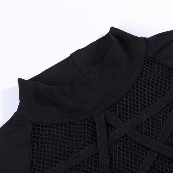 Rosetic Gothic Hollow Sexy T-Shirt Women Pentagram Design Streetwear Casual Tshirt Long Sleeve Cool Goth Girl Spring Tops 2020 4