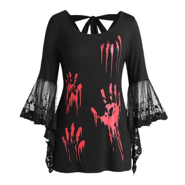 ROSEGAL Plus Size Halloween Blood Hands Bell Sleeve Sheer Tee Flare Lace Women Backless T-Shirts Horrifying Holiday 2019