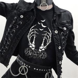 Gothic Halloween T-Shirt Women Aesthetic Printed Short Sleeve Loose Graphic Tees Femme Grunge Street Dark Punk Tumblr Clothes