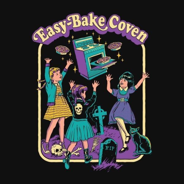 hahayule j1pcs Black Tshirt Easy Bake Coven Illustration T-Shirt Unisex Gothic Grunge Printed Tee Witch Shirt Halloween Clothing 3