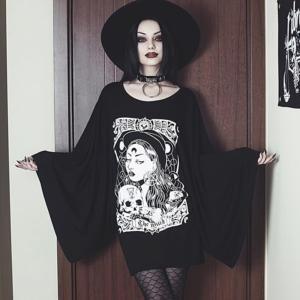 InstaHot Cloak Batwing Sleeve Loose T Shirt Gothic Punk Black Halloween Top Harajuku Women Autumn Summer Aesthetic T shirt 1