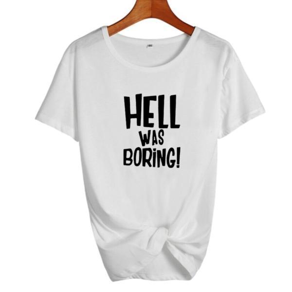 Hell Was Boring Halloween Womens Clothing Harajuku Funny T Shirt Punk Vintage Gothic Tumblr Black White T Shirt Female Tops 1