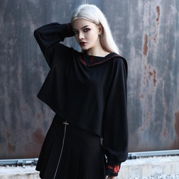 InstaHot Black Sailor Collar Embroidery Rose T-shirt Women Gothic Punk Autumn Batwing Sleeve Halloween Cotton Crop Tops Women 2