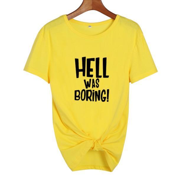 Hell Was Boring Halloween Womens Clothing Harajuku Funny T Shirt Punk Vintage Gothic Tumblr Black White T Shirt Female Tops 4