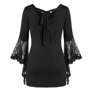 ROSEGAL Plus Size Halloween Blood Hands Bell Sleeve Sheer Tee Flare Lace Women Backless T-Shirts Horrifying Holiday 2019 1