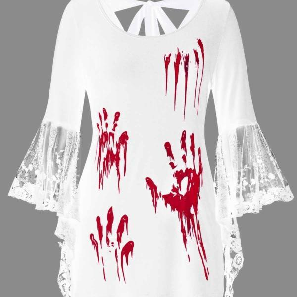 ROSEGAL Plus Size Halloween Blood Hands Bell Sleeve Sheer Tee Flare Lace Women Backless T-Shirts Horrifying Holiday 2019 4