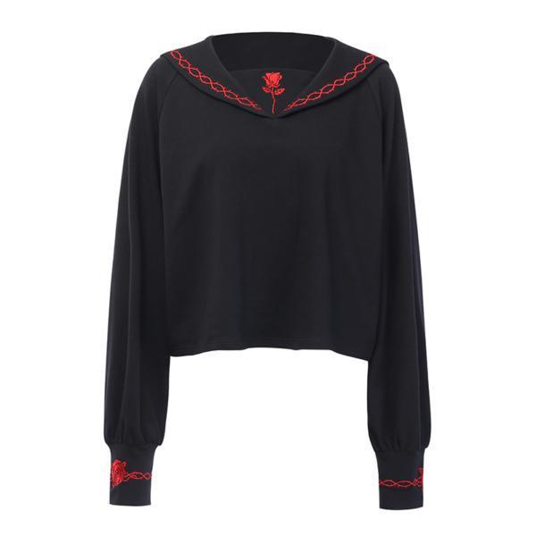 InstaHot Black Sailor Collar Embroidery Rose T-shirt Women Gothic Punk Autumn Batwing Sleeve Halloween Cotton Crop Tops Women 4