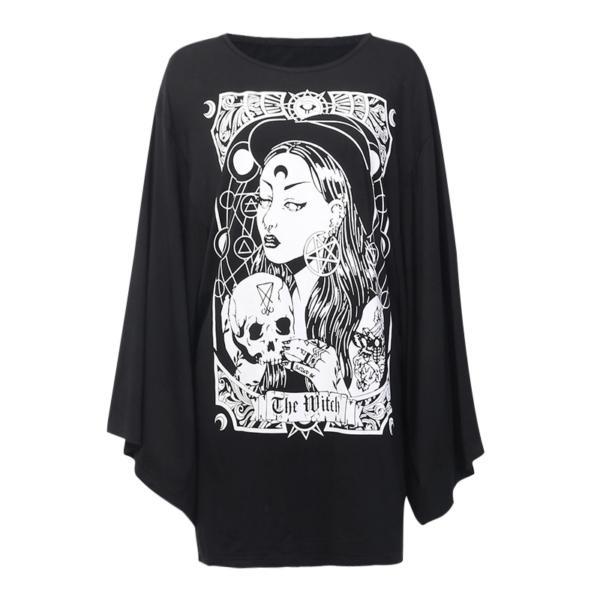 InstaHot Cloak Batwing Sleeve Loose T Shirt Gothic Punk Black Halloween Top Harajuku Women Autumn Summer Aesthetic T shirt 2