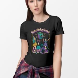 hahayule j1pcs Black Tshirt Easy Bake Coven Illustration T-Shirt Unisex Gothic Grunge Printed Tee Witch Shirt Halloween Clothing 1
