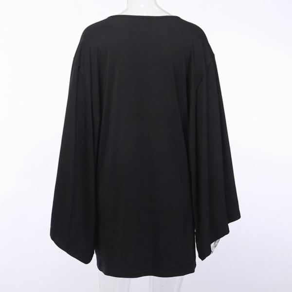 InstaHot Cloak Batwing Sleeve Loose T Shirt Gothic Punk Black Halloween Top Harajuku Women Autumn Summer Aesthetic T shirt 4