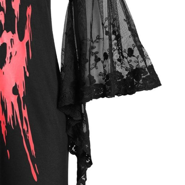 ROSEGAL Plus Size Halloween Blood Hands Bell Sleeve Sheer Tee Flare Lace Women Backless T-Shirts Horrifying Holiday 2019 2