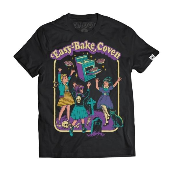hahayule j1pcs Black Tshirt Easy Bake Coven Illustration T-Shirt Unisex Gothic Grunge Printed Tee Witch Shirt Halloween Clothing 2