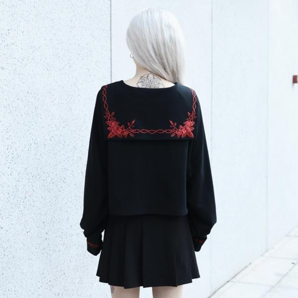InstaHot Black Sailor Collar Embroidery Rose T-shirt Women Gothic Punk Autumn Batwing Sleeve Halloween Cotton Crop Tops Women 3