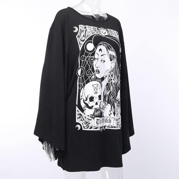 InstaHot Cloak Batwing Sleeve Loose T Shirt Gothic Punk Black Halloween Top Harajuku Women Autumn Summer Aesthetic T shirt 3